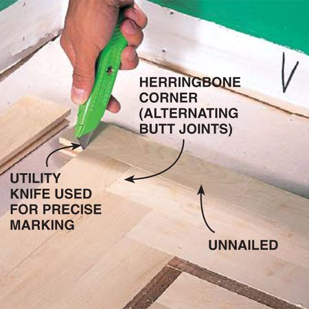 <b>Photo 16: Weave corners</b></br> Weave outside corners by overlapping the ends. Dry-fit (no fasteners) each piece before installing and mark lengths with a utility knife for accurate miter saw cuts. Install the strips <em>parallel to the borders</em>.