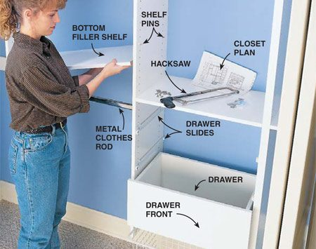 <b>Photo 10: Place the shelves</b></br> Tilt in the filler shelves, resting them on shelf support pins. Cut the metal closet rods with a 24-tooth-per-inch hacksaw.