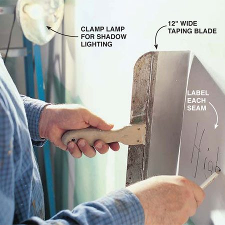 "<b>Photo 1: Map the wide seams</b></br> <p>""Map"" all wide seam work on ceilings and walls to plan how much to sand  each seam. With a backlight positioned on one side of a wall or ceiling, place  your taping blade across the end of a seam, slide the blade along the seam,  then, every 4 ft., label the spots ""high,"" ""fill"" or ""even.""</p>"