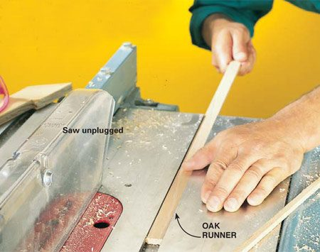 <b>Photo 2: Make the oak runners</b></br> Rip the oak lattice to the same width as the miter gauge slots. Hand-sand or plane the runners so they'll slide easily in the slots without binding. Cut them to the same length as the depth of your sled.