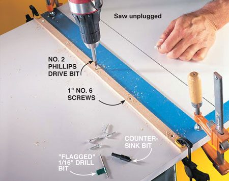 "<b>Photo 3: Mount the left runner</b></br> <p>Clamp the left runner even with the line and clamp a straightedge tight against the runner to keep it straight while you mount it. Drill 1/16- in. pilot holes and then countersink holes and fasten the runner with five 1-in. No. 6 evenly spaced wood screws.</p>  <p><strong>Tip:</strong> Attach a ""flag"" of tape 3/4 in. from the end of the drill bit to prevent you from drilling through the sled table.</p>"