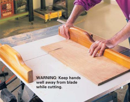 <b>Photo 11: Crosscutting technique</b></br> <p>With the saw off, set the blade height to cut no higher than 1/8 in. above the wood. Pull the sled back, lay your workpiece against the fence and line up the blade with your cutting mark. Turn the saw on, hold the wood against the fence and slowly push the workpiece through the saw. After the cut is completed, slightly separate the two halves from the blade and shut off the saw. <em>Let the blade coast to a complete stop before you remove the wood.</em></p>  <p><strong>Caution:</strong> Blade guard is removed for this operation.</p>