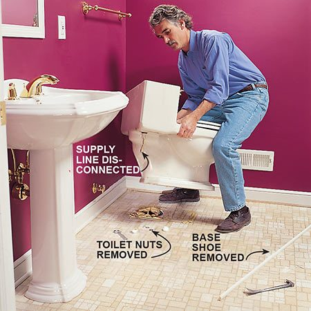 <b>Photo 1: Remove obstacles</b><br/>Remove the toilet, the base shoe or baseboard molding and the door threshold or carpet strip.