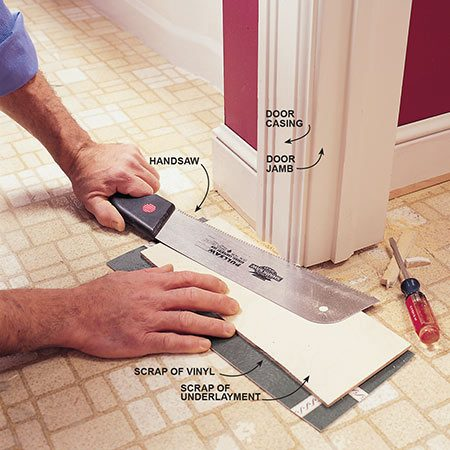 <b>Photo 2: Create space for the new flooring to slip under</b><br/>Saw off the bottom of the door jambs and moldings. Use a scrap of the underlayment plywood to hold the saw blade the correct distance from the floor. Pick out the sawed-off pieces with a flat-blade screwdriver.
