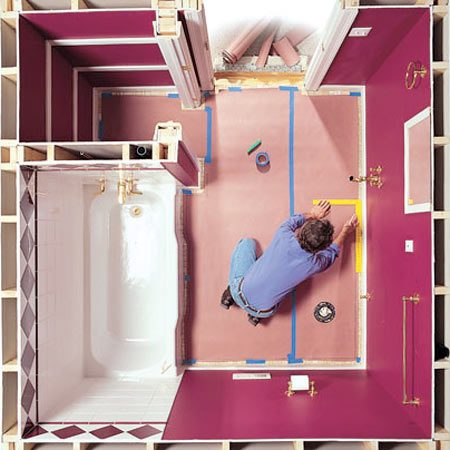 How To Install A Sheet Vinyl Floor The Family Handyman - Installing vinyl flooring in bathroom