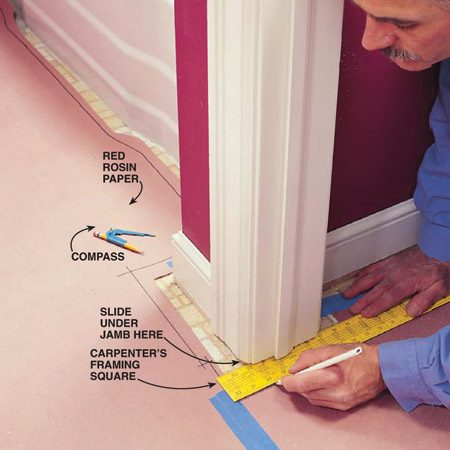 <b>Photo 5: Working around wood trim</b></br> Slide the square under the cutoff moldings and door jambs before marking the template.