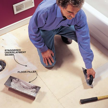<b>Photo 10: Fill gaps and holes</b></br> Mix floor filler with latex additive and trowel it onto the underlayment to fill gaps and holes. Scrape off excess filler after it sets (about 20 minutes). Vacuum the floor, then run a trowel over it to double-check for lumps of filler.