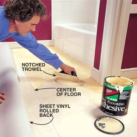 <b>Photo 14: Glue down the floor</b></br> Spread the adhesive with a notched trowel. Precisely position the vinyl flooring in the bathroom, then reroll one half of the piece. Use a notched trowel (1/16 x 1/16 x 3/32-in. notches) to spread the adhesive evenly over the floor. Roll back the second half of the floor and repeat the gluing process.