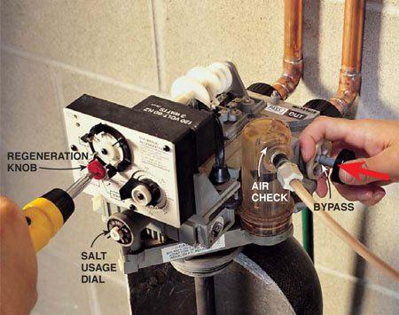 <b>Turn the manual regeneration knob </b></br> Use a screwdriver to start the manual regeneration and purge the wastewater.
