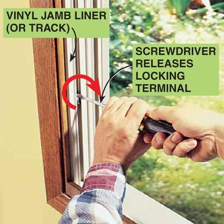 <b>Photo 2: Release the pawl</b></br> Start by employing a safety step: Release the tension on the undamaged sash balance. Insert a screwdriver on the locking terminal and twist clockwise to release the pawl. Brace yourself—there will be immediate upward tension.
