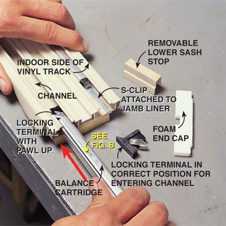 <b>Photo 7: Reassemble the balance</b></br> Position the locking terminal at the end of the cartridge so the pawl is facing up and toward what is the room side of the window opening. Slide the cartridge down the center of the channel in the vinyl jamb liner and hook the S-clip over the top of the track. Replace the foam cap and reinstall the vinyl unit into the window opening.