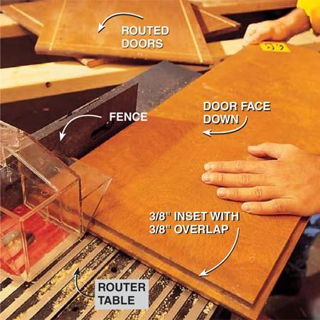 <b>Photo 2:  Add routed accents</b></br> Rout the grooves in the door and drawer faces with a router and router table equipped with a 3/16-in. straight bit set to cut 1/8 to 3/16 in. deep. Firmly set the router fence to cut the center of the groove 1-1/4 in. from the door's edge. Make a trial run on scrap plywood, then make the cuts slowly and carefully. Brush the sawdust out of the grooves with a toothbrush.