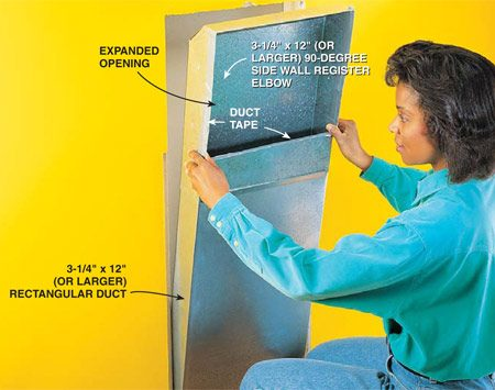 <b>Photo 2: Assemble and insert the duct</b></br> Snap the rectangular duct pieces together and use metal-cutting snips to expand the opening in the 90-degree elbow so it's just slightly smaller than your laundry door opening. Trim and fold over the opening flap that you cut, then install the chute. Using sheet metal screws, attach the duct to your top blocking and the studs on each side. Duct-tape the joint between the two pieces on the inside and on the edges of all openings so clothes won't snag on sharp edges.