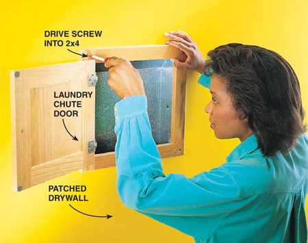 <b>Photo 3: Repair the wall and mount the door</b></br> Install the laundry chute door after patching and painting the drywall. Make sure at least two sides of the laundry door frame are screwed to the underlying 2x4s. Perch a laundry basket on a table or the floor at the bottom of the chute.