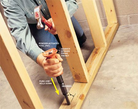 <b>Strike the tool with a hammer to drive the fastener</b></br> Quickly fasten sill plates to concrete slabs using a powder-actuated tool (PAT). Safety goggles, hearing protection and safe work methods are imperative. Once this hammer-activated PAT is loaded, hold the tool 90 degrees to the work surface. Then, tightly grip it with your arm fully extended, keeping your head in line behind the tool. Firmly push down on the PAT to cock it, maintain that pressure, and strike the firing pin nut with a strong blow from the hammer. Keep your body balanced; as the tool fires, it delivers a recoil.