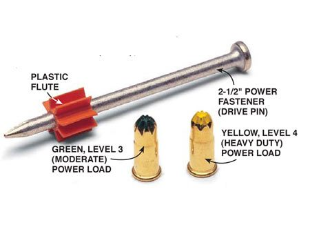 <b>Fasteners and power loads</b></br> Powder actuated tools drive the fasteners using power loads.