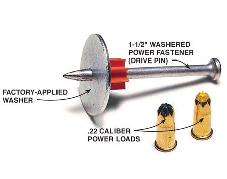 <b>Washered fastener and power loads</b></br> The .22 caliber power loads drive the fastener into the block wall.