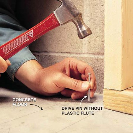 <b>Test the concrete hardness with a drive pin </b></br> Conduct a center punch test on poured concrete walls and slabs before you shoot power fasteners. Firmly strike a drive pin several times. If the fastener point penetrates the concrete easily, the material is too soft. If the concrete shatters or cracks, it's too brittle. If the fastener point is blunted or bent, the concrete is too hard. When the concrete shows a well-defined impression of the fastener tip, it's the proper hardness. Go ahead and shoot some test fasteners.