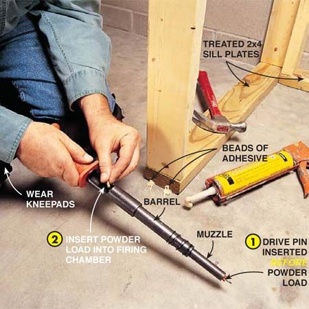 <b>Load the tool</b></br> Prepare a shot by first placing one hand on the grip and the other on the muzzle, rapidly pulling the barrel forward. The chamber will open and the piston will be set for firing. For safety, insert the drive pin into the muzzle of the PAT first. Only then, place a power load into the chamber. Push the load as far as it will go. Hold the tool steady and with the chamber up (so the load doesn't drop out), grab the muzzle and push the barrel backward to the closed position. Once the PAT is fired, the rapid action used to open it for the next shot will eject the spent power load clear of the tool.