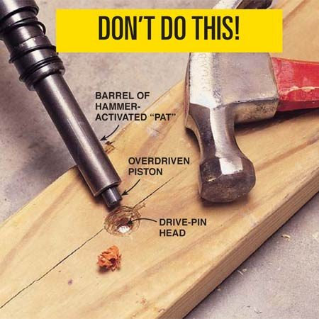 <b>Don't overdrive the fastener!</b></br> Avoid overdriving power fasteners with too strong a power load. Repeated overdriving is frustrating, damages the tool, and results in a weaker coupling between the wood and the concrete. Use either a rubber mallet or a block of wood to tap the piston back into the muzzle. Inspect the barrel assembly, and open the tool's chamber to confirm that both the piston and barrel are working smoothly. If the gun is damaged, have it repaired at a service center.
