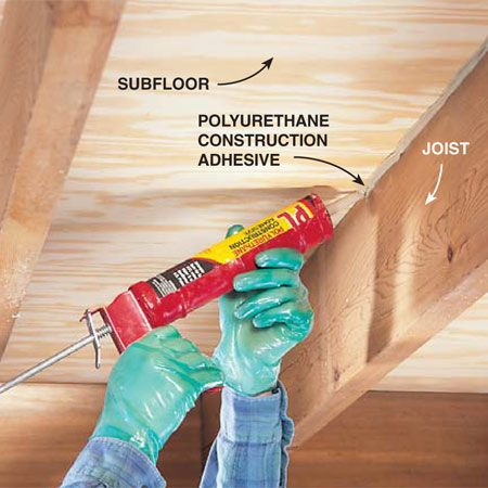 <b>Fill the gap</b><br/>Locate the floor squeak and inject polyurethane construction adhesive into gaps between joists and plywood. Ventilate the area while using this adhesive.