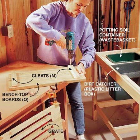 <b>Photo 7: Build the cover</b></br> Assemble the cover for the dirt container by screwing cleats (M) to the bottom of the 5/4 x 6-in. decking (Q). Screw cleats (N) to the bottom of the completed grate.