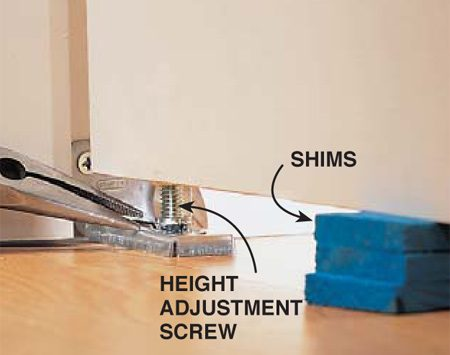 <b>Photo 3: Height adjustment</b></br> Adjust the height of the doors by screwing the bottom pin in to lower them or out to raise them. One type of pin adjustment requires a wrench and the other pliers. For the easiest adjustment without taking the door out of its track, take the weight off the door by shimming underneath it.
