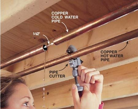 <b>Photo 2: Joining CPVC to copper</b><br/>Turn off the water supply, then cut your pipes where you&#39;d like to tie in. For the mechanical fitting shown, we removed 1-1/2 in. of pipe, then had to spread the gap to get the fitting in place. If your situation doesn&#39;t allow this, you can solder a copper tee with a male adapter and run a threaded CPVC female adapter.