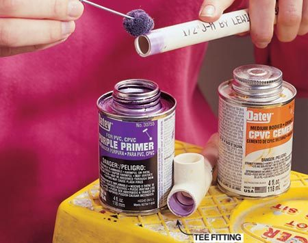 <b>Photo 5: Cement joint: Spread primer first</b><br/><p>Swab on primer to etch the surface of the pipe and the inside of the fittings. This will give the cement a better grip. <strong>Note:</strong> Some codes require the use of purple primer, but most manufacturers and codes permit the use of CPV solvent cement without a primer. </p>  <p><strong>Caution:</strong> Keep a window open for ventilation and use an organic respirator. (Consult the manufacturer for an MSDS technical data sheet.) Too many whiffs of this stuff is bad news. </p>