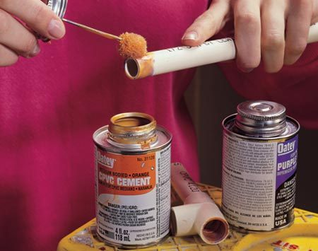 <b>Photo 6: Cement joint: Spread cement second</b><br/><p>Next, apply the CPVC cement to the tubing and the inside of the fitting. Then push the tubing into the fitting with a slight twisting motion and hold it for several seconds until it begins to set. Make sure the room is well ventilated. Smoking is absolutely prohibited while priming and applying cement. </p> <p><strong>Caution:</strong> Wear special solvent-proof gloves for extensive work. Too much exposure can be hazardous.</p>