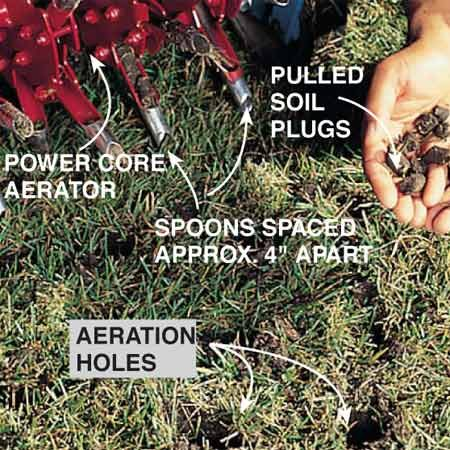 <b>Photo 2: Test before you start</b></br> Run the aerator in the morning when the turf is cool and moist (but not soggy). You want the aerator's hollow spoons to easily penetrate 1-3/4 in. to 2-1/4 in. into the soil and pull out full-length dirt plugs. If a large, straight-slot screwdriver can't easily penetrate 3 to 4 in. into the soil, the soil is too dry. The day before aerating, water the soil till it passes the screwdriver test. Mow your lawn just before watering and aerating it.