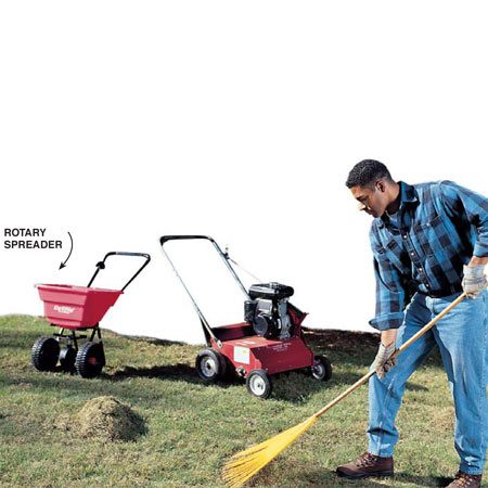 <b>Photo 4: Hand rake the thatch</b></br> Between passes with the power rake, always use a hand rake to loosen dead grass and lawn debris to ensure that new seed or fertilizer will contact the soil. If you reseed your lawn, make two passes with a rotary spreader. Each pass should contain half the recommended lawn seed for your square footage of lawn. Run it after each time you hand-rake in the <em>same</em> direction the power rake slit the soil so more seed can drop into the core holes and slits without being raked off.