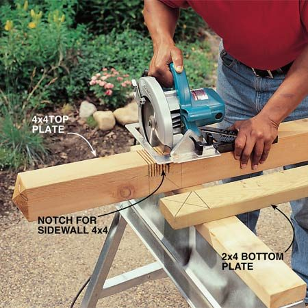 <b>Photo 12: Cut and notch 4x4 top plates</b></br> Cut the outside 4x4 top plate 2 ft. longer than the outside 2x4 bottom plate to support the overhanging rafters. Cut the end 4x4 top plates 1-3/4 in. longer than the end 2x4 bottom plates to fit into the notch in the outside 4x4. Align the 2x4 bottom plates with the 4x4s and transfer the layout marks. Cut a 1-3/4 in. x 3-1/2 in. notch in each end of the front 4x4 to accept the side 4x4s.