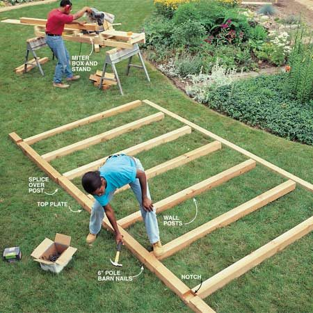 <b>Photo 13: Assemble the walls</b></br> Cut the 4x4 posts to length and assemble the walls. Pound two 6-in. pole barn nails through the predrilled 4x4 top plate and into each 4x4 post. Drill two 1/8-in. pilot holes through the 4x4 top plate at each post location and pound 6-in. pole barn nails through the 4x4 into the posts. Secure the treated bottom plate to the 4x4 posts by nailing two 16d galvanized box nails into each post.