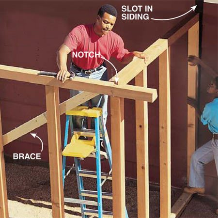 <b>Photo 14: Erect the walls</b></br> Lift the front wall onto the 6x6 beam. Position it to hang over the 6x6 beam 1/2 in. on the front and ends. Nail the bottom 2x4 plate to the 6x6 beam with two 16d galvanized nails near each post. Hold a 4-ft. level against the 4x4 corner post and push or pull it until it's perfectly vertical while your helper nails a 2x4 diagonally across the wall to temporarily brace it. Slide the side walls into the slots in the siding and fit the 4x4 top plates into the notches. Nail the bottom plates to the 6x6 and connect the top 4x4s with two 6-in. pole barn nails.