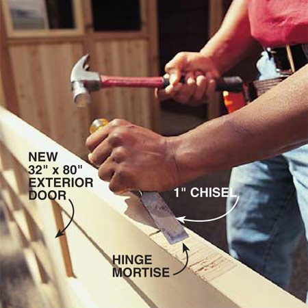 <b>Photo 24: Trim and mortise the swinging door</b></br> Sand the door until it fits into the opening. Allow a 1/8-in. space on the sides and top. Cut enough from the bottom to allow at least 3/8-in. clearance above whatever flooring material you decide to use. Outline the 4x4 butt hinges with a utility knife and chisel mortises so the hinges will sit flush with the door. Screw the hinges to the door.