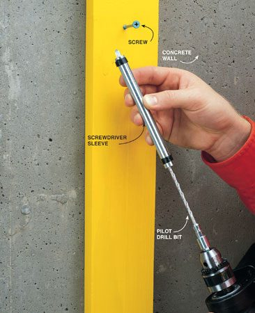<b>Photo 5: Driver/concrete bit combo tool</b></br> A special bit and sleeve assembly lets you drill holes and drive screws quickly. Buy them at well-stocked home centers and hardware stores.