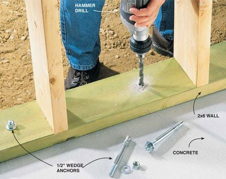<b>Photo 8: Bore hole and tap in the anchor</b></br> Bore a 1/2-in. hole through the wood and into the concrete to fasten wood plates to concrete floors. If you've got more than a few holes this size to drill, take it out on a rental drill and save yours for medium- and lighter-duty pilot holes.