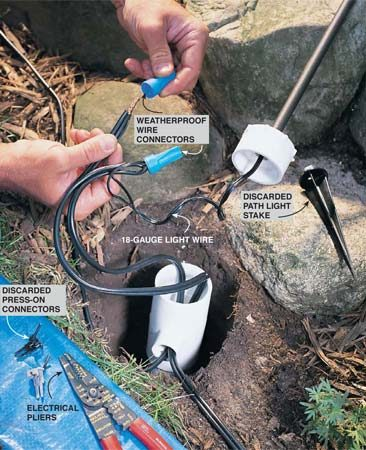 <b>Photo 4: Use weatherproof connectors</b></br> Connect the wires with weatherproof wire connectors. These wire connectors have a shield on the bottom and a blob of sealant inside that make them weatherproof. If your lights came with press-on connections, cut them off, strip off 1/2 in. of insulation, and install the connectors.