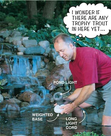 <b>Pond light</b></br> Pond lights are watertight and held in place on the pond bottom by a weighted base. They also have a long cord so you can bury your wire connections in the drier dirt at the pond's edge. To get an idea of the pond light effect, see the opening photo.