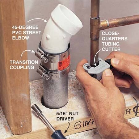 <b>Photo 5: Connect new to old with transition couplings</b></br> Connect the 1-1/2 in. steel drainpipe to a PVC street elbow with a transition coupling. Tighten the clamps with a 5/16-in. nut driver or socket wrench. Cut the copper water pipes with a close-quarters tubing cutter.
