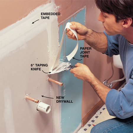 <b>Photo 9: Close up the wall</b></br> Cut drywall and fasten it to the studs with 1-1/4 in. drywall screws. Cover the seams with drywall tape embedded in a layer of joint compound. Trowel on at least two more layers, allowing each to dry before recoating. Use a 10- or 12-in. trowel for the final coat to create a tapered patch. Sand with 100-grit drywall sanding paper. Prime and paint the wall and nail up the baseboard before installing the new sink.