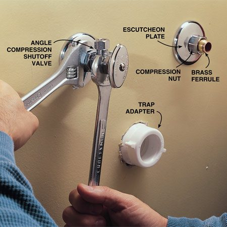 <b>Photo 10: Add shutoffs and adapters</b></br> Glue a short length of pipe and a trap adapter to the sanitary tee inside the wall. Then close the main water valve and use a tubing cutter to cut the copper pipes, leaving 2 in. exposed. Slide the decorative escutcheon, nut and brass ferrule over the pipe stub and attach a compression-type shutoff valve. Hold the valve body with one wrench while you tighten the compression nut with another.
