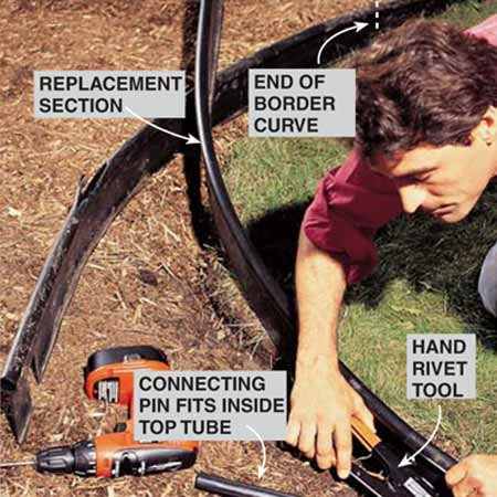 <b>Photo 3: Join the sections</b></br> Fasten the new section to the old one by first installing a 7-in. plastic connecting pin between the old and new tubular tops and drawing them tightly together. Drill four 1/8-in. holes near each corner of the overlap flap and install 1/8-in.-dia. medium-length rivets.