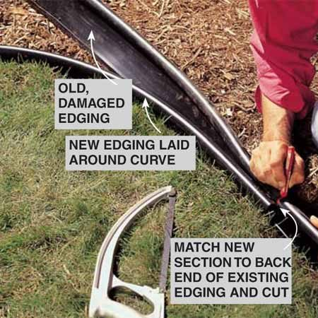 <b>Photo 4: Finish the splice</b></br> Mark the final cut on the old edging by pulling the new piece tightly around the curve, using the top tube as a guide. Insert the connecting pin, overlap the flap and rivet that end too. Backfill the trench and restore the mulch and sod.