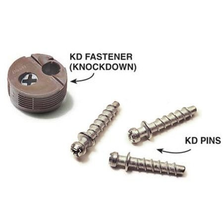 <b>Knockdown fastener</b><br/>Pins are screwed into the center of the plywood. The protruding heads fit into the hole in the knockdown fastener and are locked in with the screw. (Note: KD is a widely available brand.)
