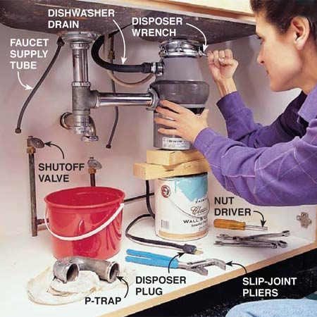 <b>Photo 1: Remove the old sink</b></br> Remove the trap and other drain parts by loosening the slip-joint nuts with a large slip-joint pliers or pipe wrench. Disconnect the disposer from the sink by sticking a large screwdriver or disposer wrench into the ring near the drain and twisting it counterclockwise. You may have to tap it with a hammer to break it free. Close the water valves and disconnect the tubes leading to the faucet. Hold the shutoff valve steady with one wrench while you loosen the supply tube nut with a second wrench. Remove any clips holding the sink in and lift it out.