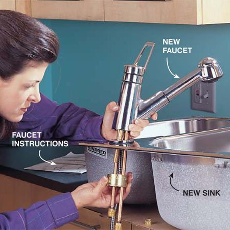 <b>Photo 2: Install the new faucet</b></br> Mount the new faucet to the new sink. Follow the instructions provided with your faucet. Protect your countertop with cardboard.