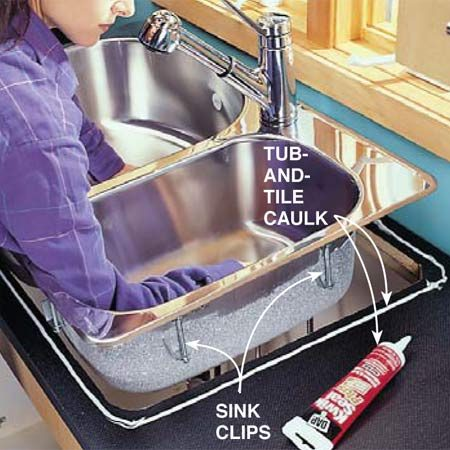 <b>Photo 3: Set the new sink</b></br> Set your new sink in the countertop to check the fit, then trace around it with a pencil. Enlarge the hole if necessary. Remove the sink and apply a bead of mildew-resistant tub-and-tile caulk just to the inside of the pencil line. Set the sink back in the hole and use a nut driver to tighten the clips that hold the sink down. Tighten the clips just enough to close the gap between the sink and countertop. Don't overtighten. Clean up the excess caulk with a damp cloth.