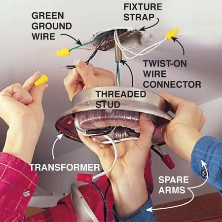 <b>Photo 9: Connect the low voltage transformer</b></br> Attach the new fixture to the electrical box using the hardware and instructions provided. You'll need a helper. Connect the white wire to the neutral white wire, the black or red wire to the black or red hot wire and the bare or green grounding wires together. If you're connecting stranded wire to solid wire, let the stranded wire stick past the solid about 1/8 in. Size the wire connectors according to the connector manufacturer's directions. Align the threaded stud on the fixture strap with the hole in the fixture and slide the fixture up to the ceiling. Secure it by tightening the nut onto the threaded stud.